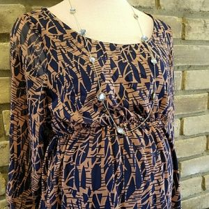🍼Pinkblush Navy and Peach Patterned Dress
